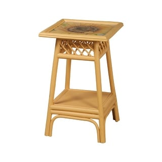 """GuildMaster 714043  16"""" Wide Hand Painted Rattan Accent Table - Sunflower Yellow"""