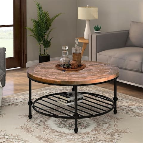 Merax Rustic Natural Round Coffee Table with Storage Shelf