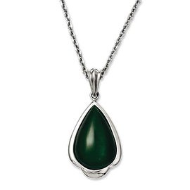 Chisel Stainless Steel Synthetic Green Cats Eye Teardrop 20in Necklace (3.4 mm) - 20 in
