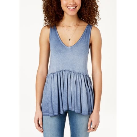 American Rag Juniors Lace Up Peplum Top Eventide Size Extra Small - Blue - X-Small