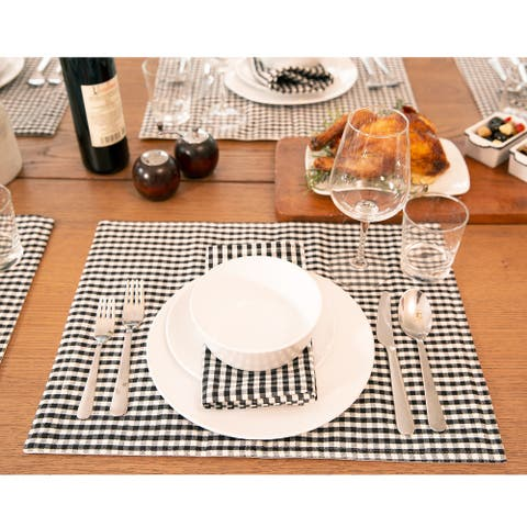 """Lush Decor Gingham Check Yarn Dyed Placemat, 4-Pack - 14"""" x 19"""""""