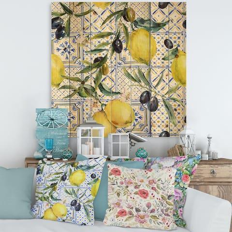 Designart 'Lemon Ornament On Blue Geometrical Pattern III' Tropical Print on Natural Pine Wood