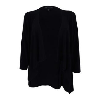 Connected Women's Draped Open-Front Sweater Jacket (PL, Black) - Black - pl