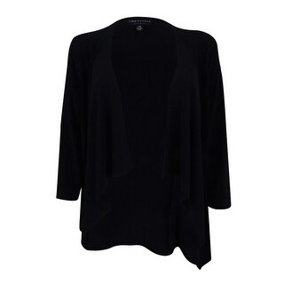 Connected Women's Draped Open-Front Sweater Jacket (PS, Black) - Black - ps