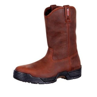Rocky Work Boots Mens Pull On Leather Waterproof Brown RKK0215