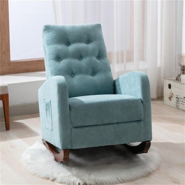 """Living Room High Back Armchair/ Fabric Padded Cotton Rocker Chair - 40""""D x 26""""W x 37""""H. Opens flyout."""