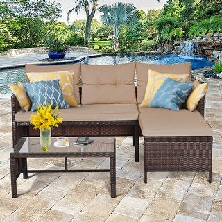 3 Pieces Outdoor Furniture Set Rattan Wicker Sofa Table Garden Patio
