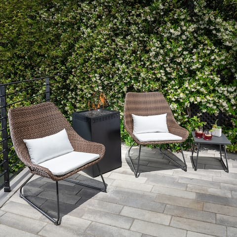 Hanover Accent 4-Piece Woven Chat Set in White featuring a 40,000 BTU Column Fire Pit