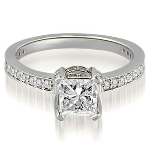 0.90 CT Princess and Round Cut Diamond Engagement Ring in 14KT Gold - White H-I