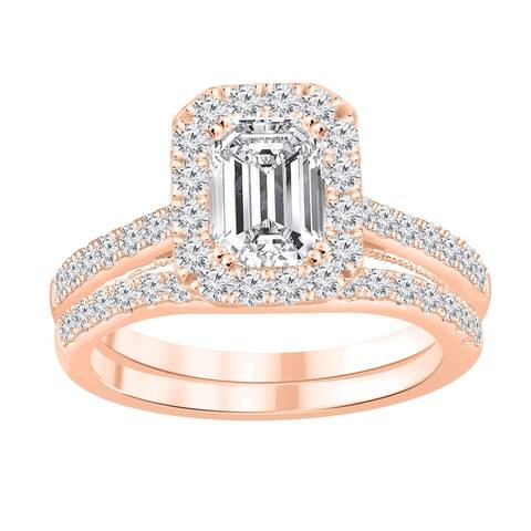 Auriya 1 4/5ctw Emerald-cut Halo Diamond Engagement Ring Set 14k Gold