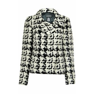 Sutton Studio Womens Wool Blend Snap Front Jacket Black & White (Option: 14)