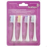 Replacement Brush Heads for Ivation Rechargeable Electric Toothbrushes with Sonic Wave Technology (Pack of 4)