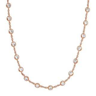 Cubic Zirconia Station Necklace in Rose Gold-Plated Sterling Silver - White