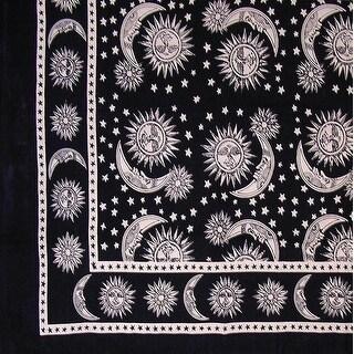 Handmade 100% Cotton Celestial Sun Moon & Star Tapestry Coverlet Black White Twin