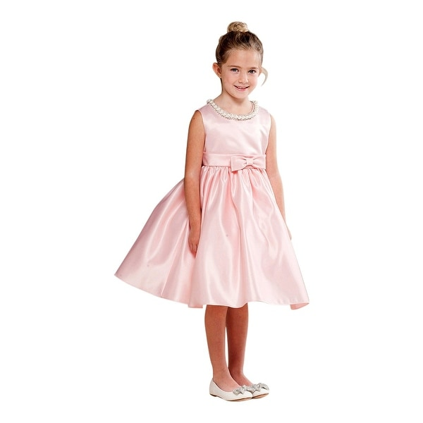 be028114e3d8 Shop Crayon Kids Girls Blush Pink Shiny Pearl Bow Detail Flower Girl Dress  - Free Shipping Today - Overstock - 18169219