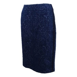 Kasper Women's Jacquard Paisley-Print Pencil Skirt - indigo/black