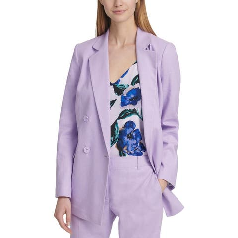 DKNY Womens Double-Breasted Blazer Linen Blend Suit Separate - Dahlia