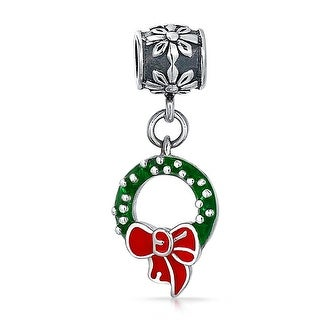 Bling Jewelry Christmas Wreath Dangle Charm Bead .925 Sterling Silver