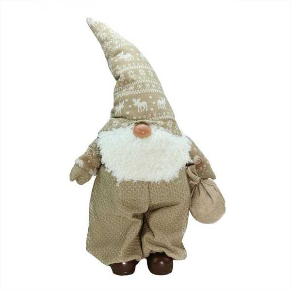 """27.5"""" Beige and White """"Jolly James"""" Gnome Christmas Tabletop Decoration - brown"""