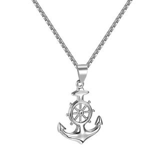 Ship Anchor Pendant Custom Hip Hop Stainless Steel Box Chain Necklace Charm Mens