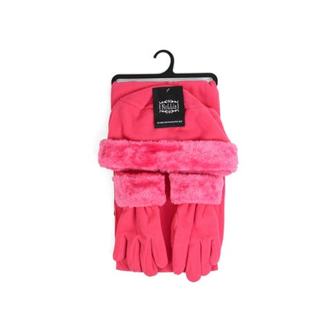 Girl's 6-12 Faux Fur Trimmed Matching Gloves and Scarf Winter Set - Regular