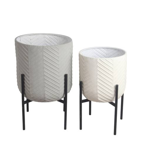 Set of 2 White/Glack Metal Planters