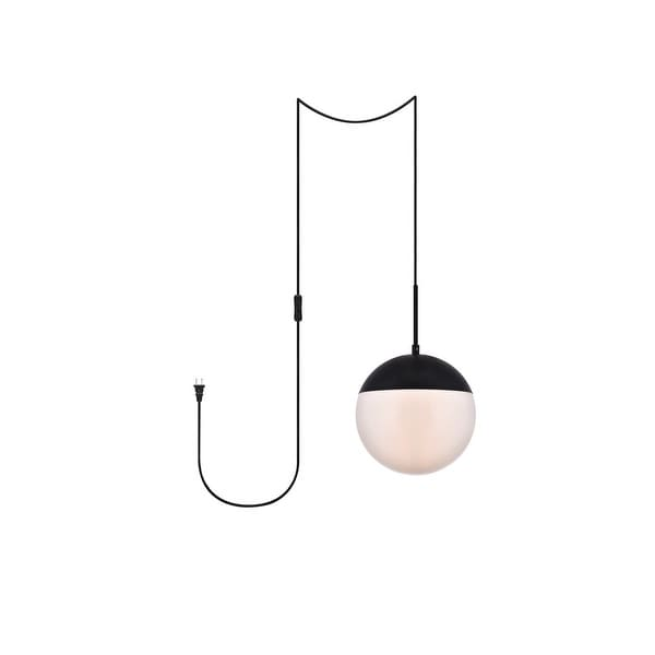 "Elian 1-Light Plug in Pendant with Frosted White Shade - Black - 10"" Diameter. Opens flyout."