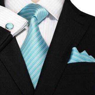 Men's Blue And White Stripes 100% Silk Neck Tie Set Cufflinks & Hanky 18A64 - regular