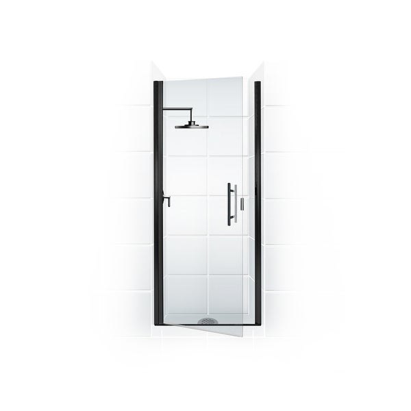 """Coastal Shower Doors PLQFR31.75-C Paragon Series 31"""" x 74"""" Semi-Frameless Continuous Hinge Shower Door and Clear Glass with"""