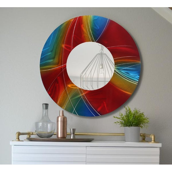 Statements2000 Red / Blue / Gold Metal Decorative Wall-Mounted Mirror by Jon Allen - Mirror 119
