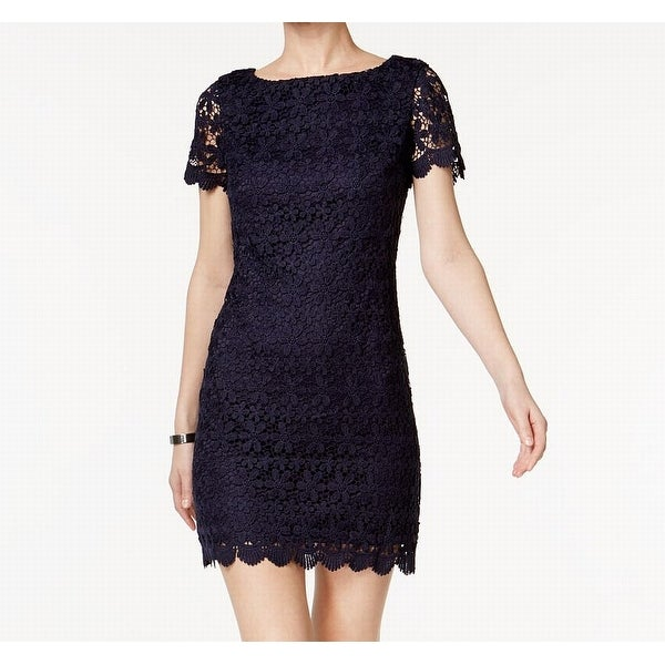 6b7b3033e0cad Shop Jessica Howard Navy Blue Womens Size 8P Petite Lace Sheath Dress - Free  Shipping On Orders Over $45 - Overstock - 22478924