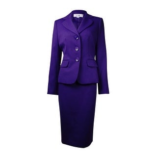 Le Suit Women's Country Club Textured Skirt Suit - passion purple - 4