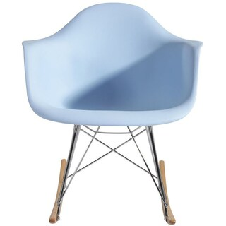 2xhome Blue Natural Wood Metal Wire Plastic Rocker Chair Rocking For Bedroom Living Room With Arms Back