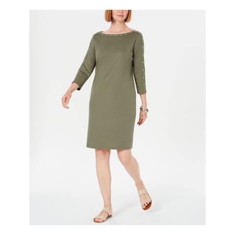 KAREN SCOTT Green 3/4 Sleeve Above The Knee Dress XS