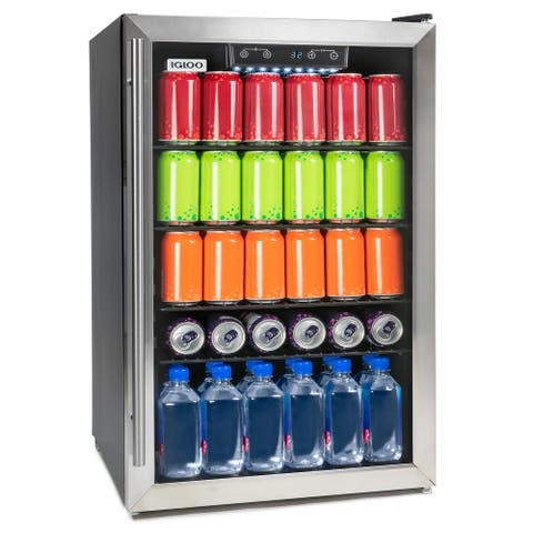 Igloo IBC41FNSS 180-Can Capacity Stainless Steel Beverage Center Refrigerator and Cooler