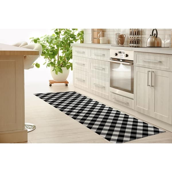 Diagonal Buffalo Plaid Black White Kitchen Mat By Kavka Designs Overstock 30586547