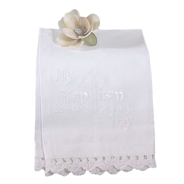 Little Things Mean A Lot White Lace Cotton Embroidered Christening Towel - One size