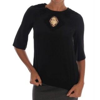 Dolce & Gabbana Black Sacred Heart Lace Top Blouse - it36-xxs