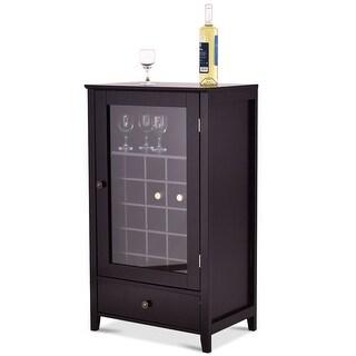 Gymax Wood Brown Wine Cabinet Storage Shelf Bottle Holder