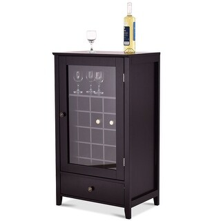 Gymax Wood Brown Wine Cabinet Storage Shelf Bottle Holder