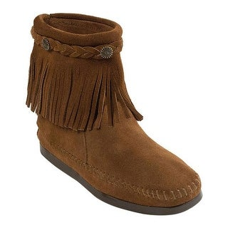 Minnetonka Women's Hi Top Back Zip Boot Dusty Brown Suede