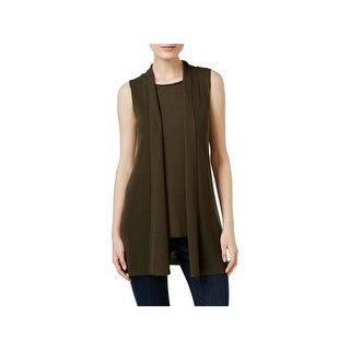Eileen Fisher Womens Sweater Vest Tencel Open Front - XXS