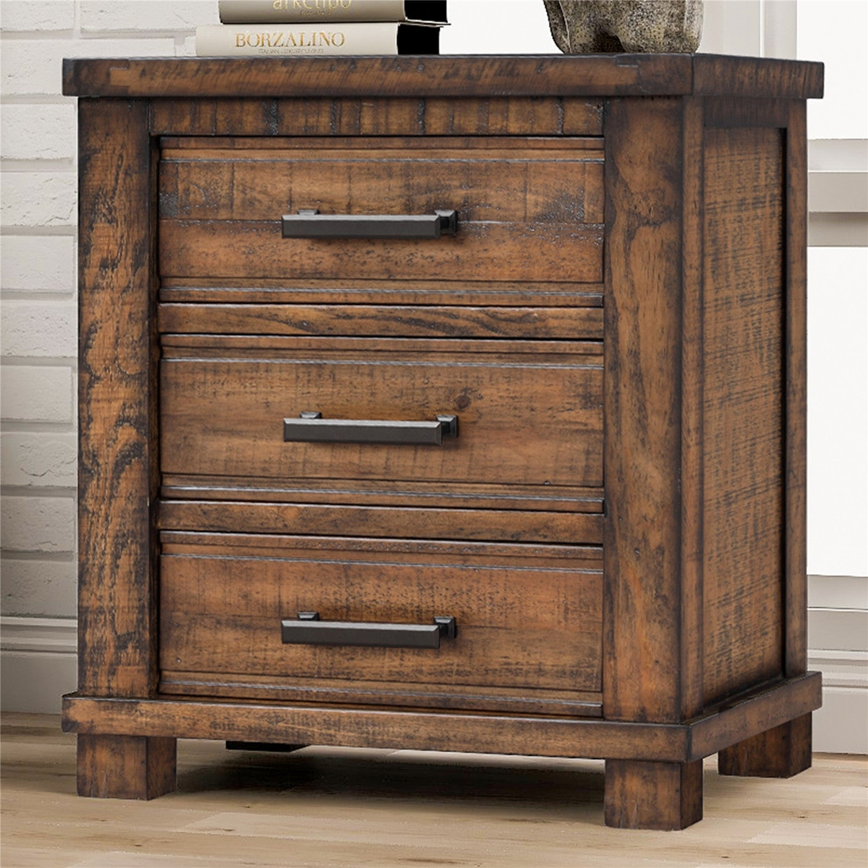 Vintage Rustic Three Drawer Reclaimed Pine Wood Nightstand Overstock 32740343