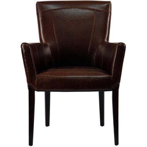 """SAFAVIEH En Vogue Dining Ken Bicast Leather Arm Chair Brown - 27.2"""" x 26.2"""" x 37.6"""""""