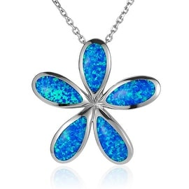 "Plumeria Necklace Opal Sterling Silver Pendant 18"" Chain"