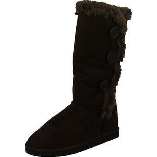 Sn03 Womens Button Shearling Boots Coffee