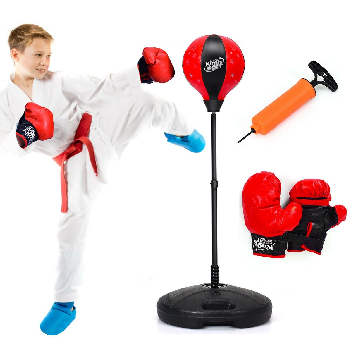 Children Boxing Set Glove Stand Exercise Equipment Punching Speed Ball Stand