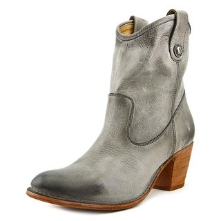 Frye Jackie Button Short Boot Women Round Toe Leather Gray Ankle Boot