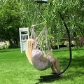 Sunnydaze Cotton Rope Hammock Chair with Wood Spreader Bar - Thumbnail 5