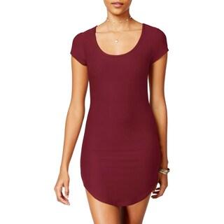 Planet Gold Womens Juniors Shirtdress Bodycon Short Sleeves (Option: Rhubarb - L)